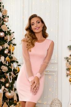 Розовое коктельное платье со стразами Open-Style
