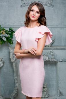 Розовое платье с воланами на рукавах Look Russian