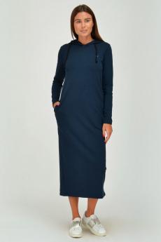 Темно-синее платье с капюшоном и карманами Viserdi